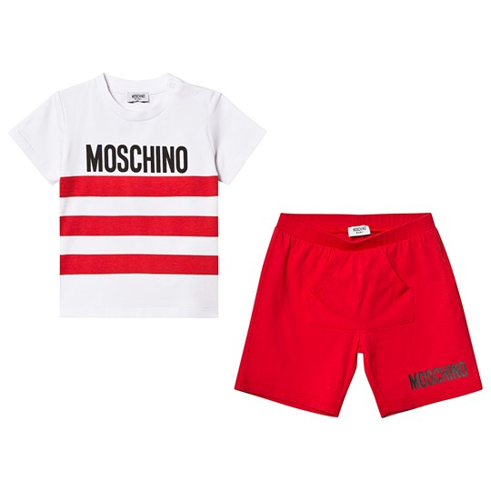 Moschino Kid-Teen Red Branded Stripe Tee and Shorts Set 85005