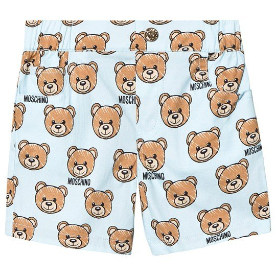 Moschino Kid-Teen Pale Blue All Over Bear Print Cotton Shorts 84003