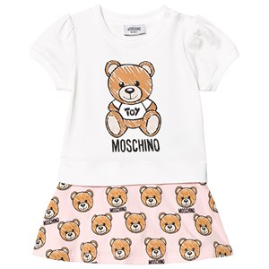 Image of Moschino Kid-Teen White and Pink Bear Print Dress 9-12 months (3140443189)