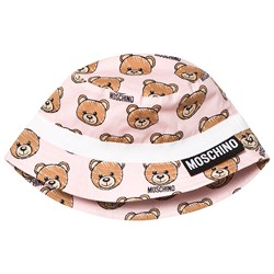 Moschino Kid-Teen Pale Pink Bear Print Sun Hat