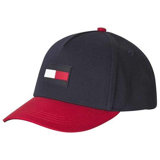 Tommy Hilfiger Navy and Red Flag Logo Cap 902