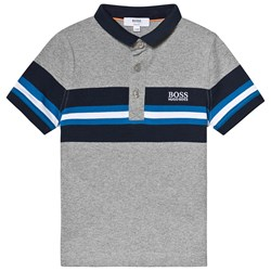 BOSS Grey and Navy Striped Polo
