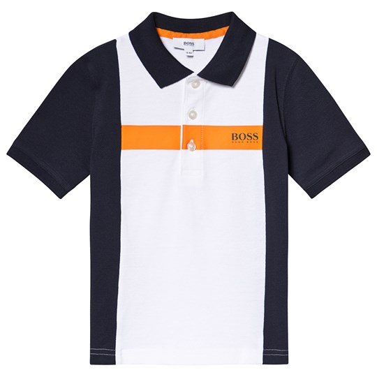 BOSS White and Navy Color Block Polo N68