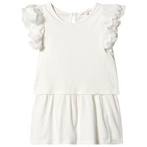 Image of Chloé Off-white Ruffle Sleeve Jersey Dress with Embroidered Detail 10 years (3125260679)