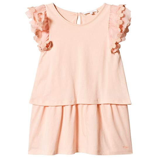 Chloé Peach Ruffle Sleeve Jersey Dress with Embroidered Detail