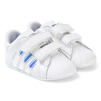 new concept d9cdc 9afae adidas Originals White and Blue Superstar Crib Sneakers FTWR WHITE FTWR  WHITE CORE BLACK