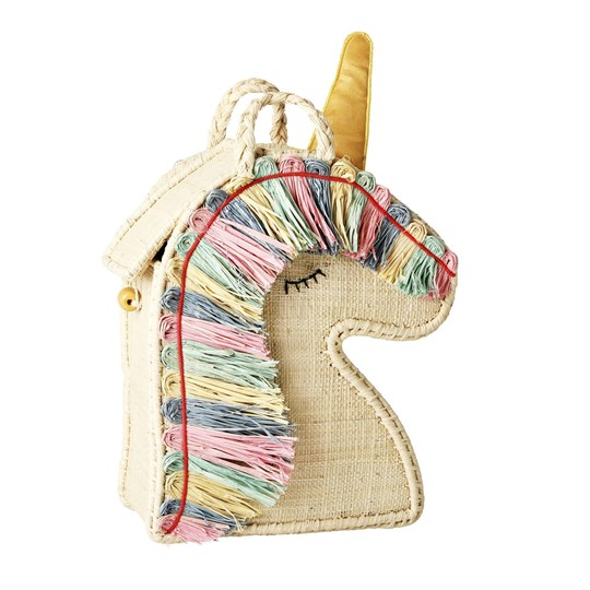 Rice Raffia Kids Unicorn Väska pastel