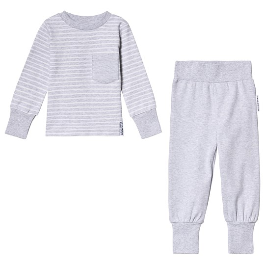 Geggamoja Classic Pajamas Light Grey Stripe Light grey stripe