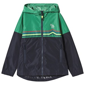 Image of Paul Smith Junior Navy and Green Stripe Zip Through Hooded Windbreaker with Pocket and Zebra Detail 2 years (1291388)