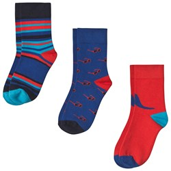 Paul Smith Junior 3-Pack Socks in Red/Blue