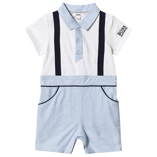 BOSS White and Pale Blue Romper N28