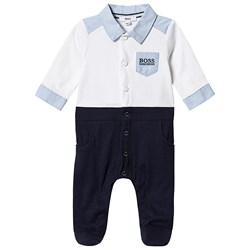 BOSS White and Navy Mock Shirt Footed Baby Body