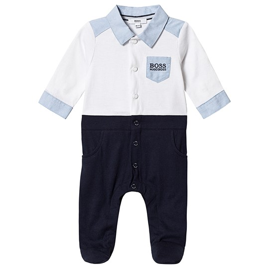 BOSS White and Navy Mock Shirt Footed Baby Body N68
