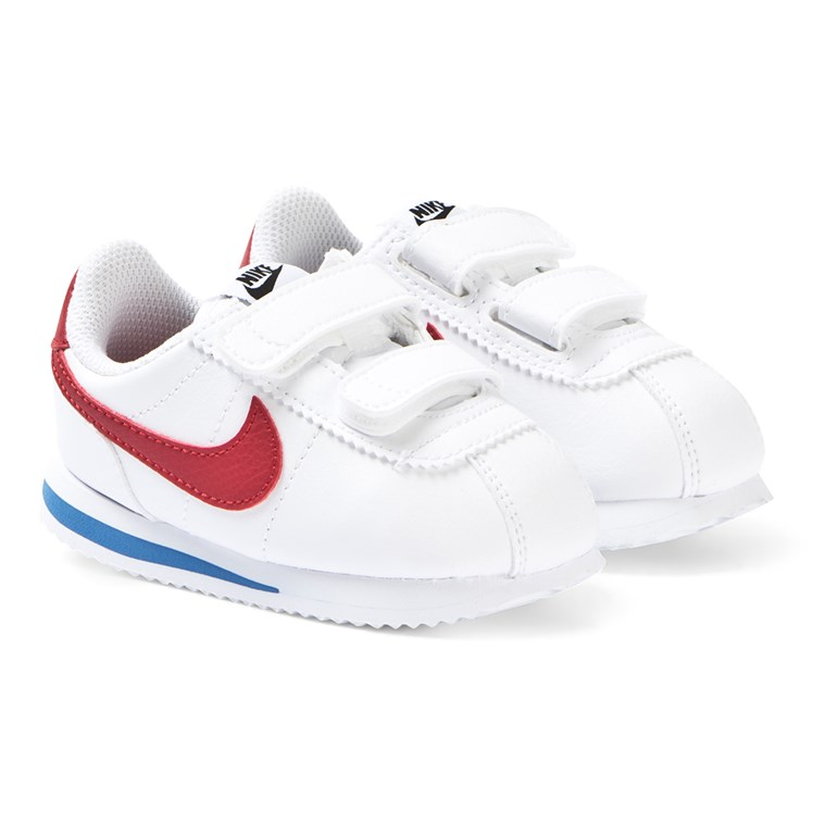 NIKE White and Red Nike Cortez Basic 2V Sneakers Babyshop.no