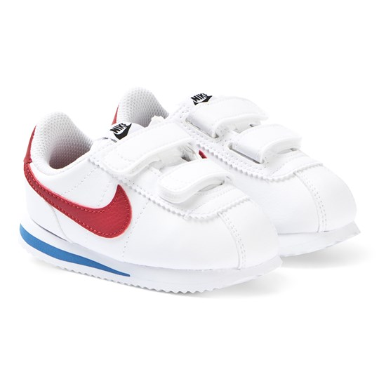 NIKE White and Red Nike Cortez Basic 2V Sneakers 103