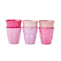 Rice 6-Pack Small Melamine Cups 50 Shades of Pink
