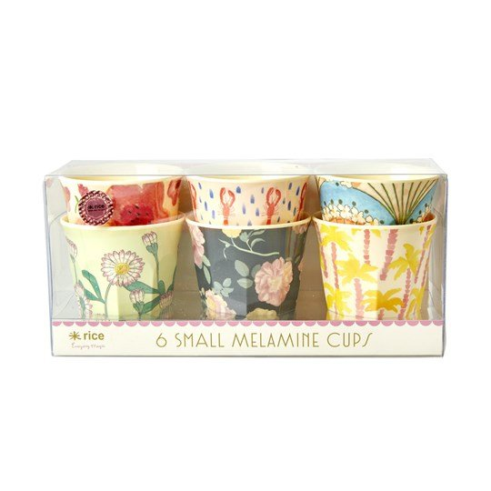 Rice 6-Pack Small Melamine Cups Happy 21 Mix