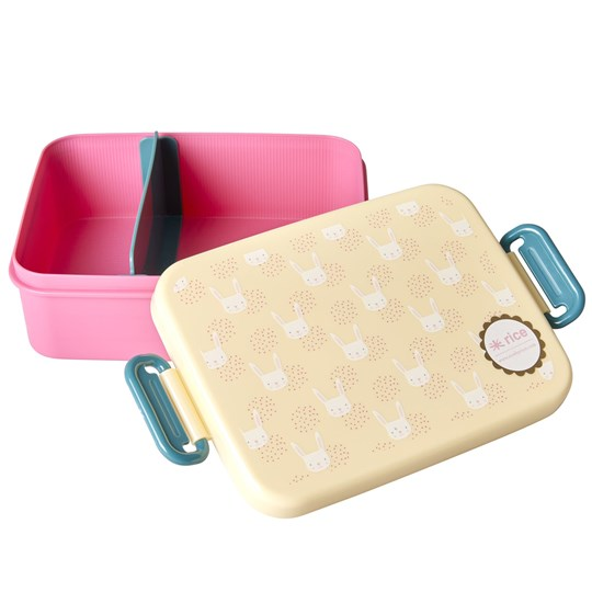 Rice Large Lunchbox with Divider Rabbit Print cream, pink
