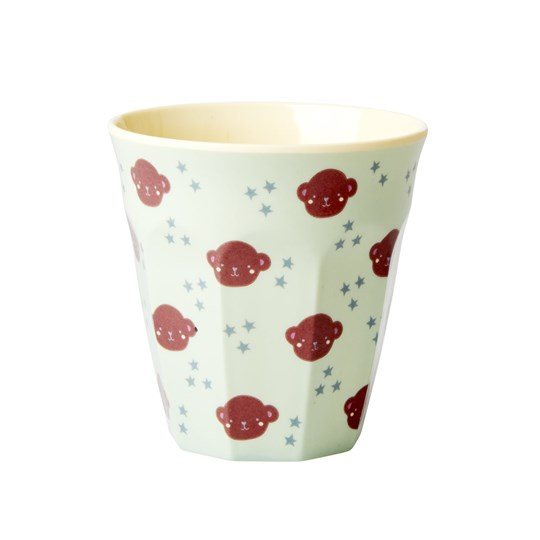 Rice Small Melamine Cup Monkey Print mint, brown