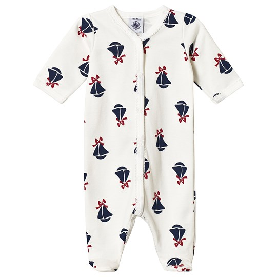 Petit Bateau Boat Footed Baby Body White MARSHMALLOW/MULTICO