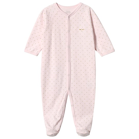 Livly Saturday Simplicity Footed Baby Body Pink/gold Dots Baby Pink/gold Dots