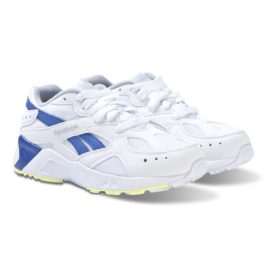 Reebok White and Cold Grey Aztrek Sneakers 90S-WHITE/COLD GREY/CRUSHED COBALT/NEON LIME