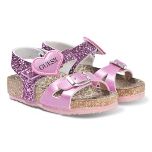 Image of Guess Pink Glitter Cross Strap Sandals 21 (UK 4) (3125249175)