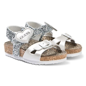 Image of Guess Silver Glitter Cross Strap Sandals 21 (UK 4) (3125249003)