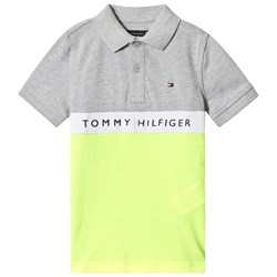 Tommy Hilfiger Grey and Neon Yellow Branded Pique Polo