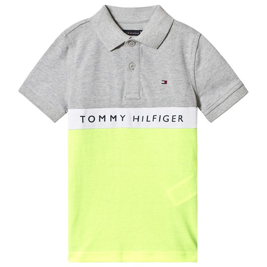Tommy Hilfiger Grey and Neon Yellow Branded Pique Polo 004