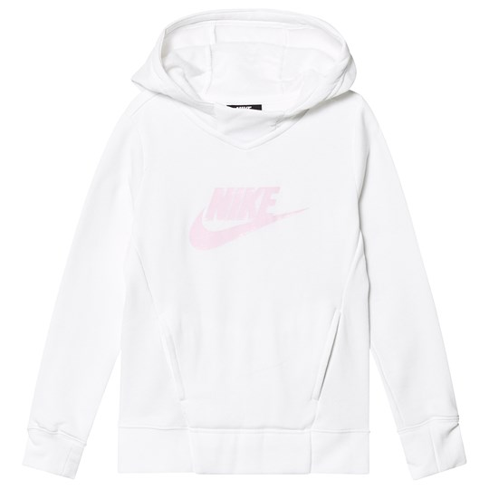 NIKE White and Pink Nike Pullover Hoodie 100