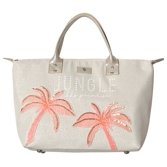 IKKS White Wicker Pink Palm Tree Beach Bag 71