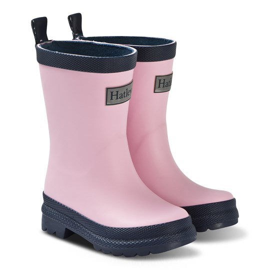 Hatley Pink and Navy Rain Boots Pink