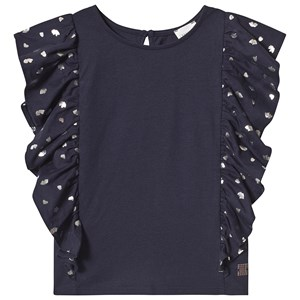 Image of Carrément Beau Blue Tee with Ruffle Sleeves and Silver Print 10 years (3125247109)