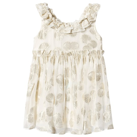 Carrément Beau Cream Ruffle Dress with Gold Shell Detail N81