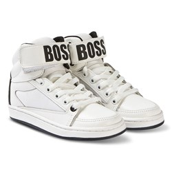 BOSS White Branded Leather High Top Sneakers