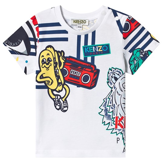 Kenzo White Multi Icon Branded Tee 01
