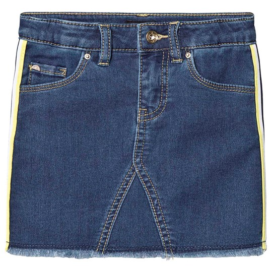 IKKS Dark Blue Denim Skirt with Yellow Side Seam Stripe 86