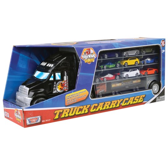 Motormax Truck with 12 Cars Black