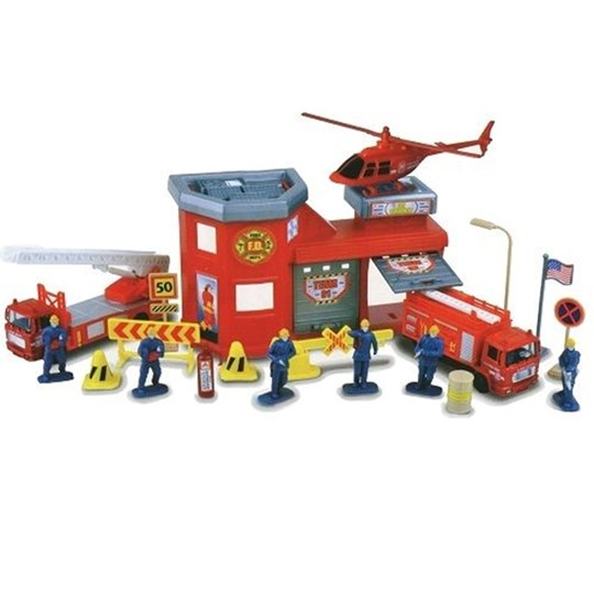 Motormax Fire Station Playset 20pcs Red