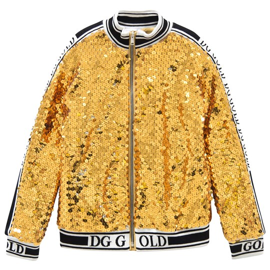 Dolce & Gabbana Gold Sequin Branded Bomber A0893