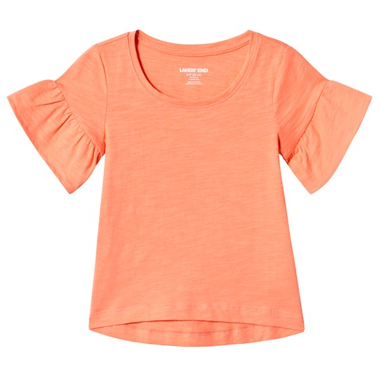 Lands' End Coral Ruffle Sleeve Top 1OW