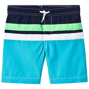 Image of Lands' End Aqua/Navy Color Block Swim Trunks 12-13 years (3125340779)