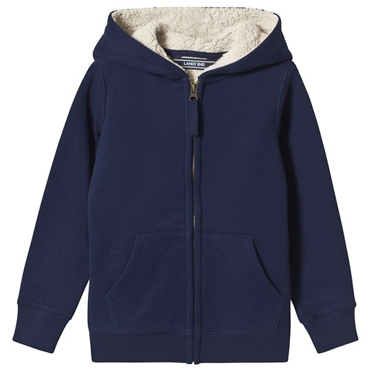 Lands' End Navy Sherpa Lined Hoodie HME