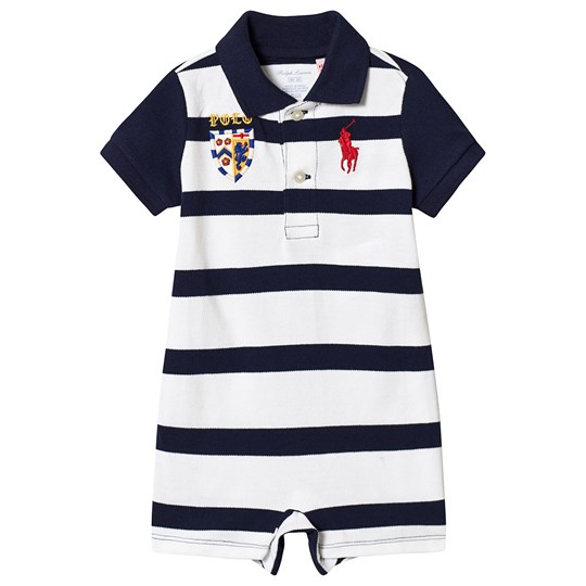 Ralph Lauren Navy and White Stripe Pique Polo Romper 002