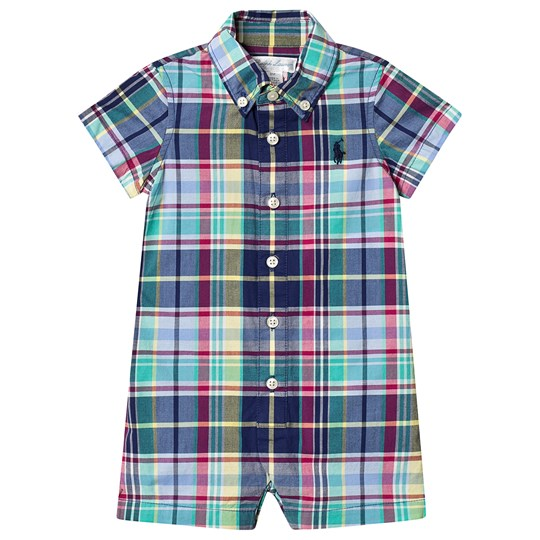 Ralph Lauren Blue Multi Check Shirt Romper 001
