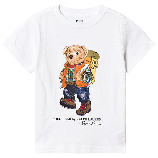 Ralph Lauren White Hiking Bear Print Tee 001