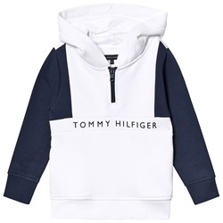 Tommy Hilfiger White and Navy Branded Hoodie