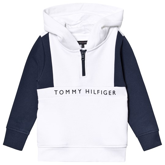 Tommy Hilfiger White and Navy Branded Hoodie 123