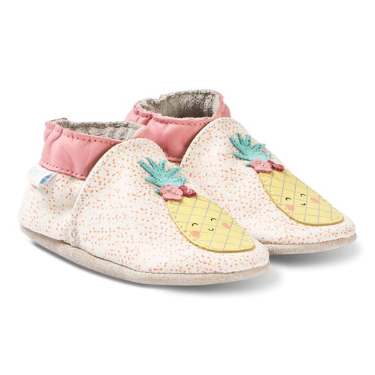 Robeez Soft Soles™ Leather Crib Shoes Sweet Pineapple/Off White 31